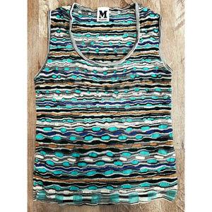 Missoni Womens Blue Striped Tank Top Size 8